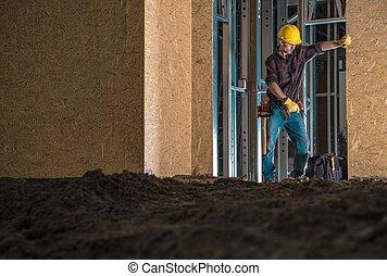 právě ubytovat se, budovat dělník