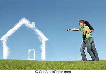 právě ubytovat se, nákupčí, pojem, jako, hypotéka, domů...