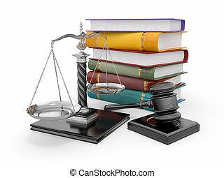právo, soudce, concept., měřítko, kladívko