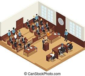právo, soudce, isometric, komponování, plakát