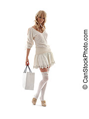 prächtig, blond, mit, einkaufstüte, #2