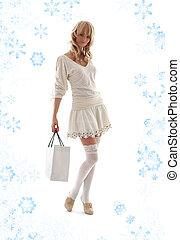 prächtig, blond, mit, einkaufstüte, und, schneeflocken, #2