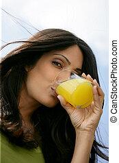 prächtig, frau, trinken, jus d orange