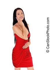 prächtig, junge frau, in, rotes kleid