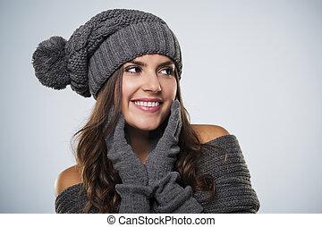 prächtig, junge frau, tragen, winter- kleidung, anschauen, kopieren platz