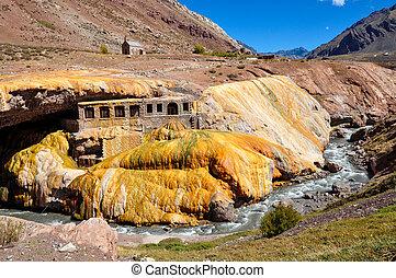 prächtig, puente, del, inka, ruinen, zwischen, chile, und,...