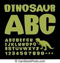 prähistorisch, alphabet., monster, uralt, dino, reptile., abc., beschaffenheit, letters., dinosaurierer, satz, grün, lizard., briefe, haut, tiere, schriftart