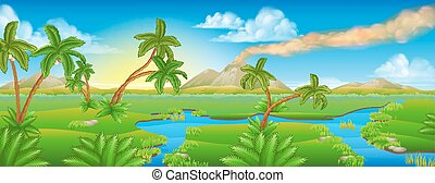 prähistorisch, hintergrund, karikatur, landschaftsbild, szene