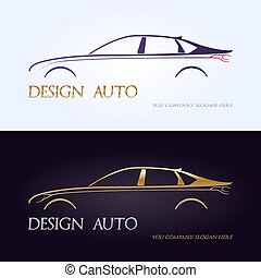 prämie, auto, silhouetten