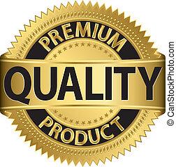 prämie, qualität, produkt, goldenes, labe