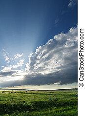 prärie, himmelsgewölbe, landschaftsbild