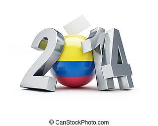 präsidenten-, wahlen, in, kolumbien, 2014