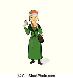 präst, dress., henne, arm, medicinalväxtodlare, grön, ...