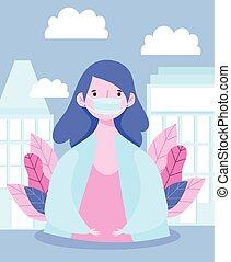 prävention, porträt, maske, coronavirus, junger, medizin, covid, frau, 19