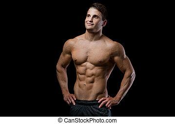 prålig, hälsosam, isolerat, muskulös, Uppe, se, svart, bakgrund,  man