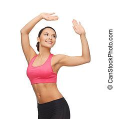 prålig, kvinna, in, aerobic, eller, dans, rörelse