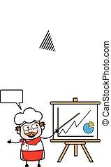 præsentation, forretningsmand, cartoon, baord