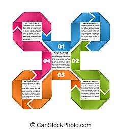 præsentationer, ribbons., information, firma, eller, infographics, skabelon, banner.