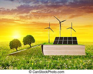 pré, écologique, livre, solaire, turbine, panneau, ouvert, vent, sunset.