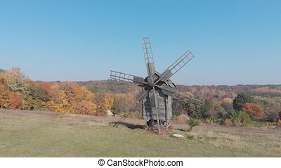 pré, éolienne, ukraine., bois, ancien