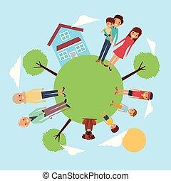 pré, autour de, animal favori famille, maison, arbre, ciel