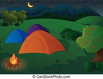 pré, camping, nuit