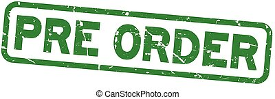pré, carrée, grunge, timbre, caoutchouc, arrière-plan vert, cachet, mot, blanc, ordre