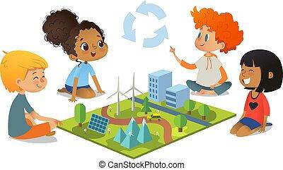 pré-escolar, árvores, educação, crianças, chão, vento, vetorial, solar, plantas, explorar, modelo, montanhas, cidade, painéis, ambiental, sentando, caricatura, eco-green, illustration., concept., turbines., paisagem