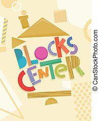 pré-escolar, blocos, centro, ilustração