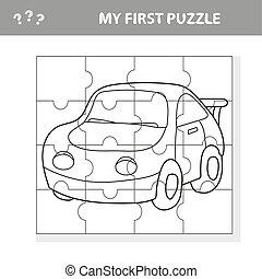pré-escolar, car, ilustração, jogo, crianças, quebra-cabeça, caricatura