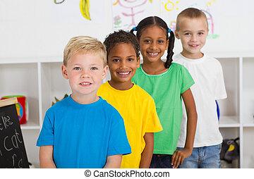 pré-escolar, estudantes, em, sala aula