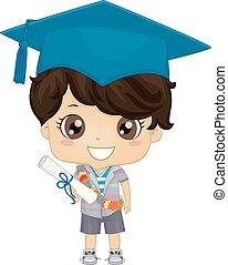 pré-escolar, graduado, alemão, criança, menino, ilustração