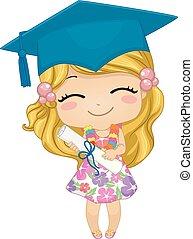 pré-escolar, graduado, menina, alemão, criança, ilustração