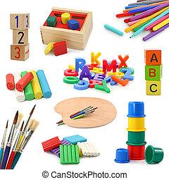 pré-escolar, objetos, cobrança