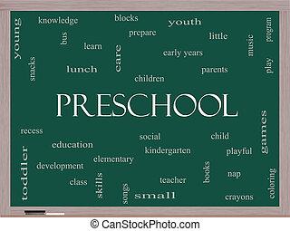 pré-escolar, palavra, nuvem, conceito, ligado, um, quadro-negro
