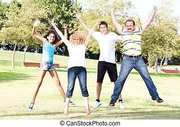 pré, famille, air, haut sauter, vert