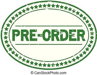 pré, grunge, timbre, caoutchouc, arrière-plan vert, cachet, ovale, blanc, ordre