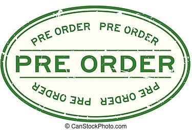 pré, grunge, timbre, caoutchouc, arrière-plan vert, cachet, ovale, mot, blanc, ordre