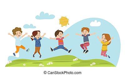 pré, heureux, été, sauter, enfants
