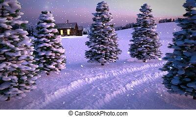 pré, magie, hiver, neigeux, render., nd, scène, chute neige, seamless, animation, coucher soleil, cottage., boucle, 3d