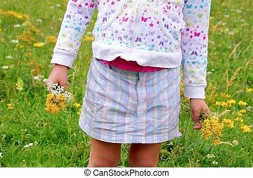pré, main, vert, tenue, girl, fleurs