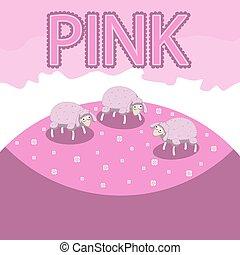 pré moutons, pink., nuances, image, caractère, vecteur, fleurs, pâturage