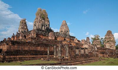 pré, récolter, cambodge, siem, rup, temple
