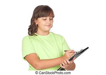 préadolescent, girl, presse-papiers, adorable, écriture