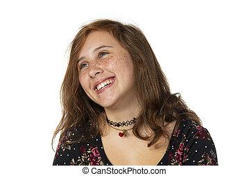 préadolescent, rire, taches rousseur, isolé, blanc, girl