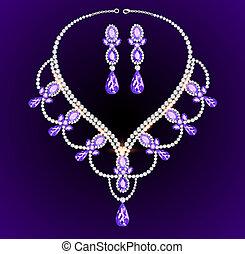 précieux, collier, pierres, grand, vendange, féminin