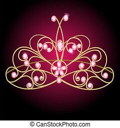précieux, diadème, mariage, femmes, pierres, rose