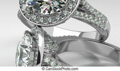 précieux, diamant, anneaux