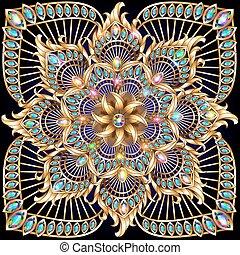 précieux, or, circulaire, fond, pierres, ornement