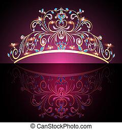 précieux, or, diadème, womens, pierres, couronne